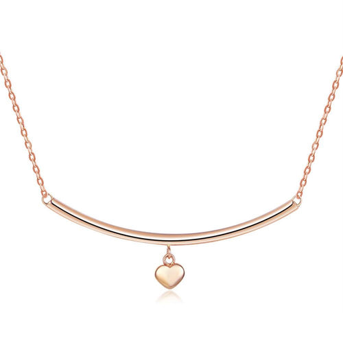 Solid 18K/750 Rose Gold Dangle Heart Bar Necklace
