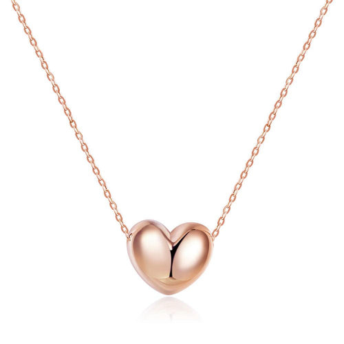 Solid 18K/750 Rose Gold 3D Heart Necklace