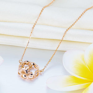 Solid 18K/750 Rose Gold Crown Dangle Necklace