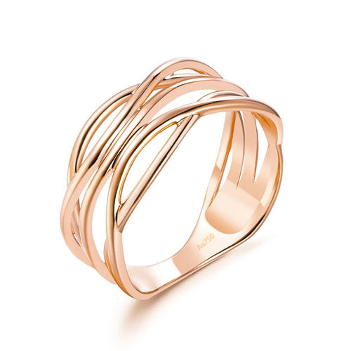 Solid 18K/750 Rose Gold Irregular Pattern Ring