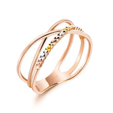Load image into Gallery viewer, Solid 18K/750 Rose Gold 3 Tones Ring