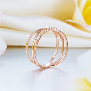 Solid 18K/750 Rose Gold 3 Tones Ring