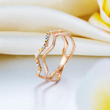 Load image into Gallery viewer, Solid 18K/750 Rose Gold Wave Band Ring