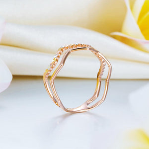 Rebel. Solid 18K/750 Rose Gold Wave Band Ring