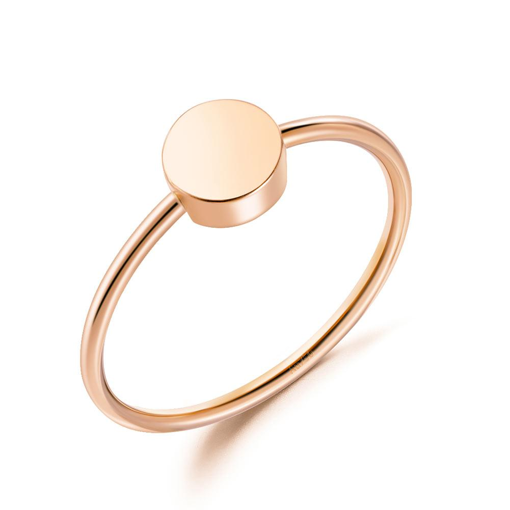 Rebel. Solid 18K/750 Rose Gold Round Pattern Ring