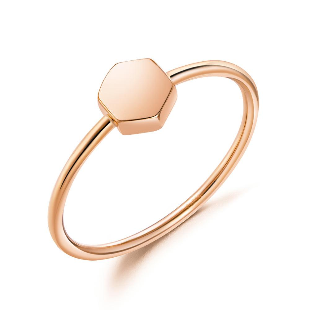 Solid 18K/750 Rose Gold Hexagon Ring