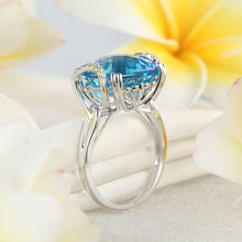 Load image into Gallery viewer, 14K White Gold Luxury Anniversary Ring 9.6 Ct Cushion Swiss Blue Topaz Diamond