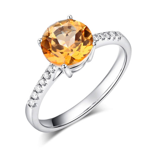 14K White Gold Wedding Engagement Ring 2 Ct Yellow Topaz 0.12 Ct Natural Diamond