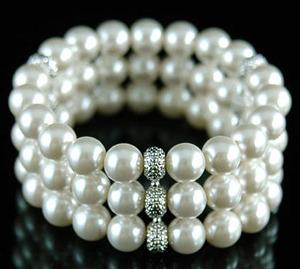 Bridal Wedding 3 Rows White Shell Pearl Bracelet XB036
