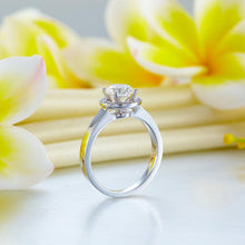 Load image into Gallery viewer, 14K White Gold 1 Carat Forever One Moissanite Diamond Halo Wedding Engagement Ring