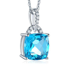 Load image into Gallery viewer, 14K White Gold 4 Ct Cushion Swiss Blue Topaz Pendant Necklace 0.1 Ct Diamond