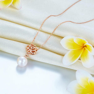 18K/ 750 Rose Gold Pearls Rose Pendant Necklace