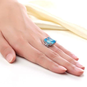 14K White Gold Luxury Wedding Anniversary Ring 13 Ct Swiss Blue Topaz Diamond