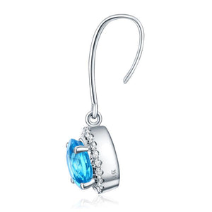Dangle 14K White Gold Swiss Blue Topaz Earrings Natural 0.298 Ct Diamonds