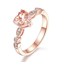 Load image into Gallery viewer, 14K Rose Gold Engagement Ring 7 mm Heart Peach Morganite 0.1 Ct Natural Diamonds