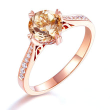Load image into Gallery viewer, 14K Rose Gold Vintage Wedding Engagement Ring 1.2 Ct Peach Morganite & Natural Diamonds
