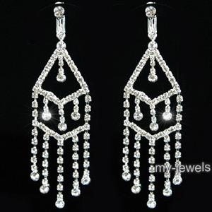 "3.5"" Drag Queen Rhinestone Dangle Clip On Earrings XE1024"