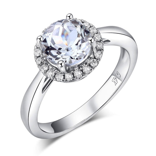 14K White Gold Wedding Engagement Ring 1.2 CT Topaz 0.16 CT Natural Diamonds
