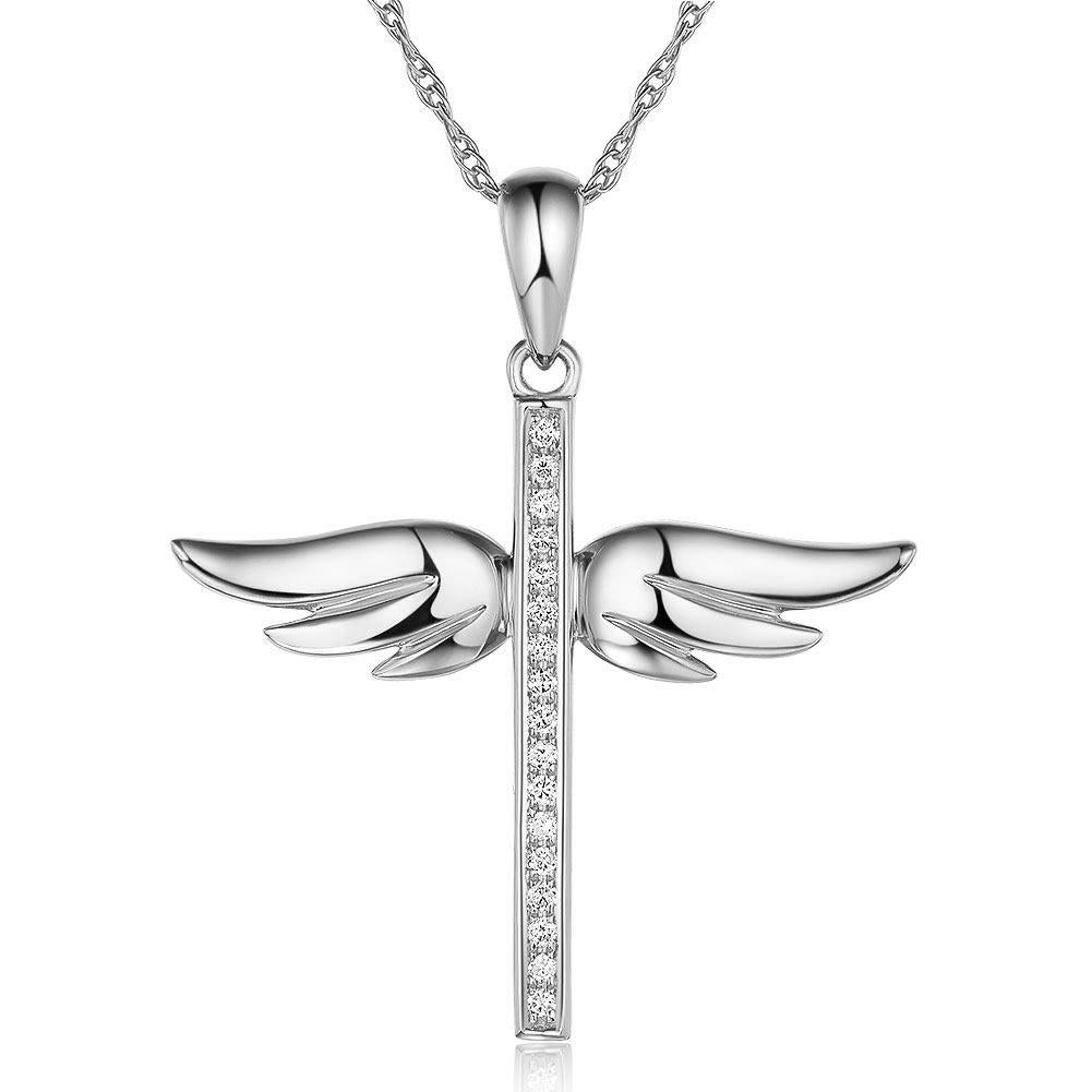 14K White Gold Angel Wing Cross Pendant Necklace 0.08 Ct Diamonds