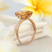 Load image into Gallery viewer, 14K Rose Gold Luxury Anniversary Ring 5.2 Ct  Citrine 0.22 Ct Natural Diamond