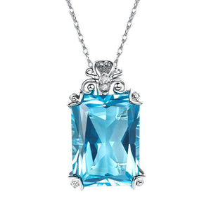 Vintage Style 14K White Gold 13 Ct Swiss Blue Topaz Pendant Necklace 0.1 Ct Diamond