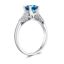 Load image into Gallery viewer, 14K White Gold Wedding Engagement Ring 1.2 Ct London Blue Topaz & Natural Diamonds