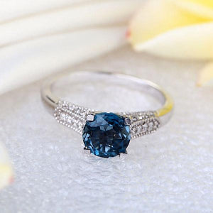14K White Gold Wedding Engagement Ring 1.2 Ct London Blue Topaz & Natural Diamonds