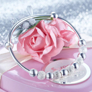 Solid 999 Silver Bangle Bracelet Baby Gift Adjustable Size XFB8001