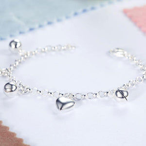 Solid 925 Sterling Silver Dangle Hearts Bracelet Baby Kids Girl Gift Children Jewelry XFB8005