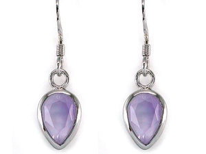 3 Carat Genuine Purple Pear Cut Amethyst 925 Sterling Silver Dangle Fine Earrings XFE8004