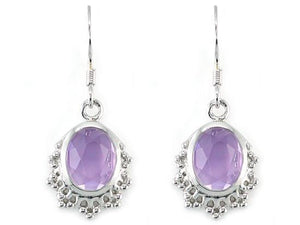 Rebel. 5 Carat Genuine Purple Oval Cut Amethyst 925 Sterling Silver Dangle Fine Earrings XFE8006