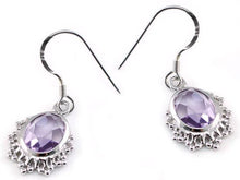 Load image into Gallery viewer, Rebel. 5 Carat Genuine Purple Oval Cut Amethyst 925 Sterling Silver Dangle Fine Earrings XFE8006