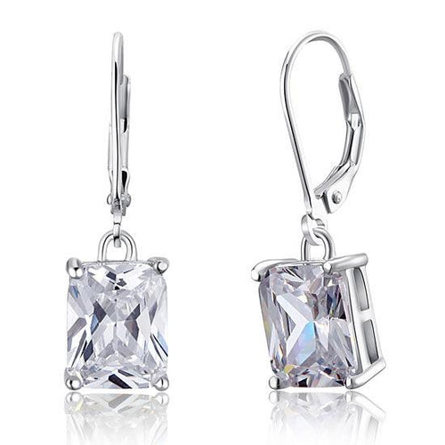 4 Carat Emerald Cut Created Diamond 925 Sterling Silver Dangle Earrings XFE8013