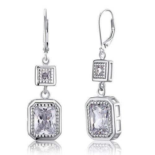 4 Carat Emerald Cut Created Diamond 925 Sterling Silver Dangle Earrings XFE8014