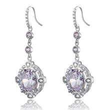 Load image into Gallery viewer, Rebel. 5 Carat Oval Dangle Sterling 925 Silver Bridal Wedding Earrings XFE8017