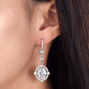 Rebel. 5 Carat Oval Dangle Sterling 925 Silver Bridal Wedding Earrings XFE8017