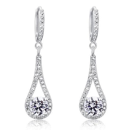 1 Carat Round Cut Solid 925 Sterling Silver Bridal Wedding Dangle Earrings Jewelry XFE8019