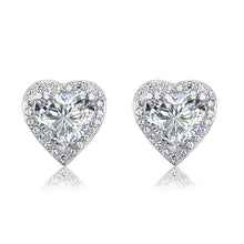 Load image into Gallery viewer, 3 Carat Created Diamond 925 Sterling Silver Heart Stud Earrings XFE8021