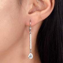 Load image into Gallery viewer, 1 Carat Pear Cut Created Diamond  925 Sterling Silver Dangle Earrings XFE8025