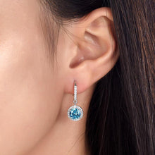 Load image into Gallery viewer, 1.5 Carat Created Blue Topaz 925 Sterling Silver Dangle Earrings XFE8027