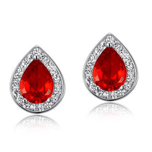 Load image into Gallery viewer, Rebel. 1 Carat Pear Cut Red Created Ruby 925 Sterling Silver Stud Earrings XFE8034