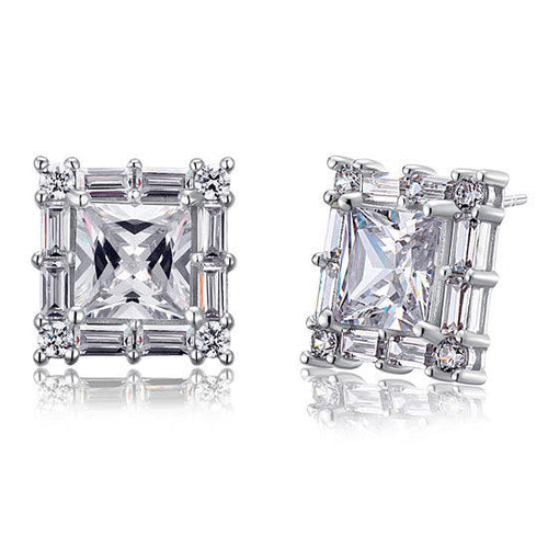 2 Carat Princess Cut Created Diamond  925 Sterling Silver Stud Earrings Vintage Style XFE8035