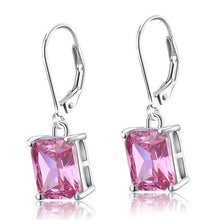 Load image into Gallery viewer, 4 Carat Pink Created Sapphire 925 Sterling Silver Dangle Earrings XFE8036
