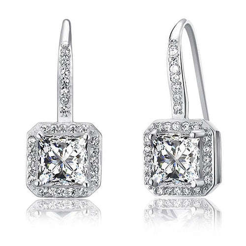 1.5 Carat Created Diamond 925 Sterling Silver Dangle Earrings XFE8047
