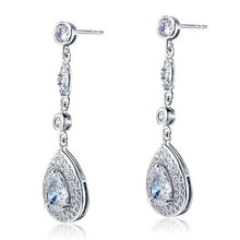 Load image into Gallery viewer, 1.5 Carat Pear Cut Created Diamond 925 Sterling Silver Dangle Earrings XFE8056