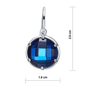 Navy Blue Created Topaz Dangle Sterling 925 Silver Bridal Earrings XFE8058
