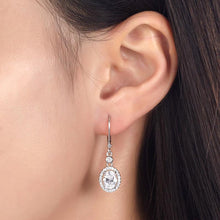 Load image into Gallery viewer, 1.5 Carat Oval Cut Created Diamond 925 Sterling Silver Dangle Earrings XFE8061