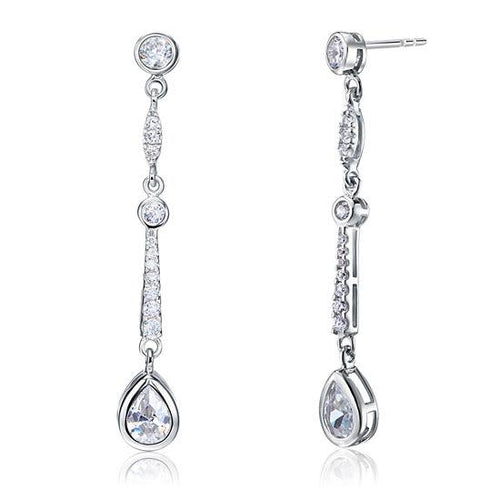 Pear Cut Created Diamond 925 Sterling Silver Dangle Earrings XFE8062