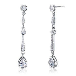 Rebel. Pear Cut Created Diamond 925 Sterling Silver Dangle Earrings XFE8062