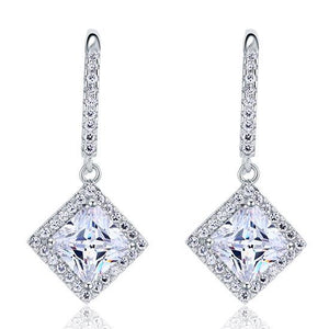 Rebel. 3 Carat Created Princess Cut Diamond Dangle Drop Sterling 925 Silver Earrings XFE8065